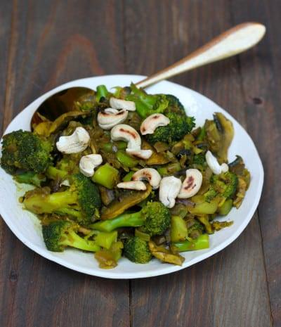 brócoli con setas hindú al wok