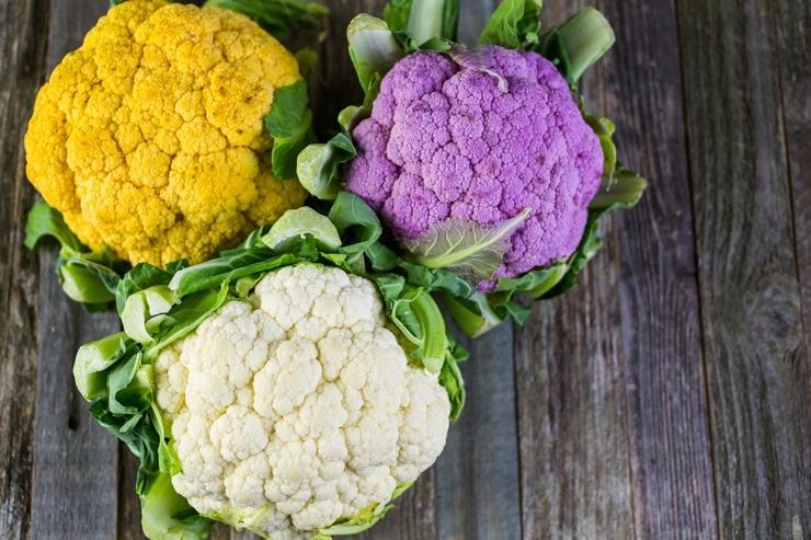Rainbow of organic cauliflower from the local market.